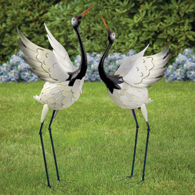 Set Of 2: Red Crowned Cranes Metal Garden Statues ...