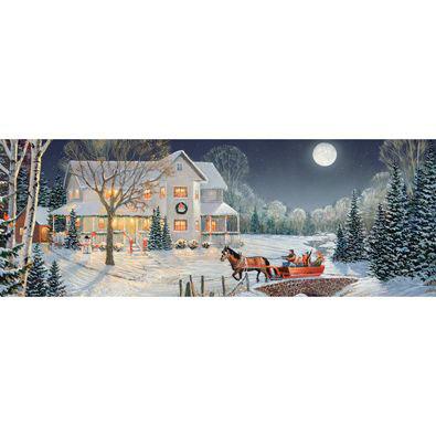 Holiday Night Ride 500 Large Piece Panoramic Jigsaw Puzzle