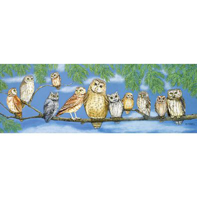 Owl Talk 1000 Piece Panoramic Jigsaw Puzzle