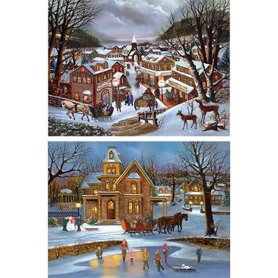 Set of 2: Happy Holidays 300 Large Piece Jigsaw Puzzles