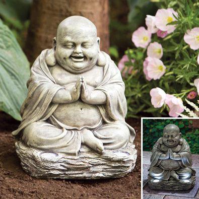 Solar Laughing Buddha Statue