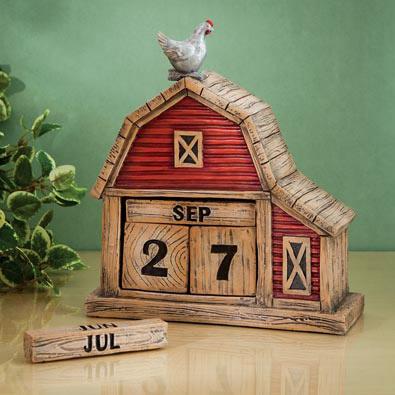 Country Barn Perpetual Decorative Desktop Calendar