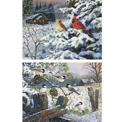 Set of 2: Snow Birds 300 Large Piece Jigsaw Puzzles