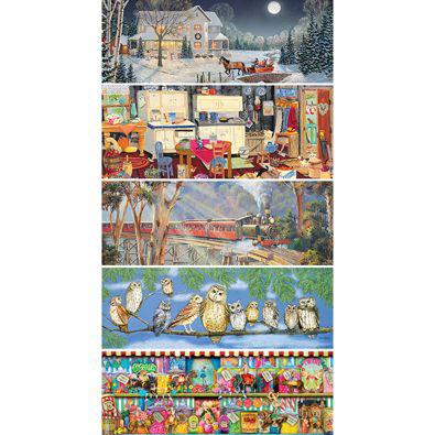 Set of 5: 1000 Piece Panoramic Jigsaw Puzzles