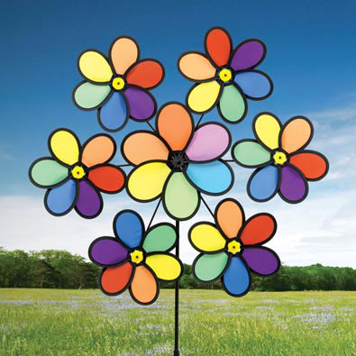 Rainbow Daisy Nylon Wind Spinner