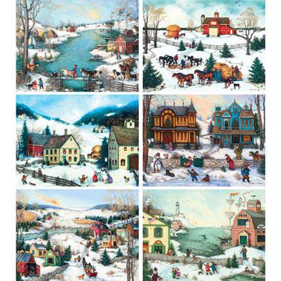 Set of 6: Linda Nelson Stocks 300 Large Piece Puzzles