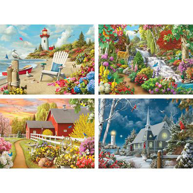 Set of 4: Alan Giana 1000 Piece Jigsaw Puzzles