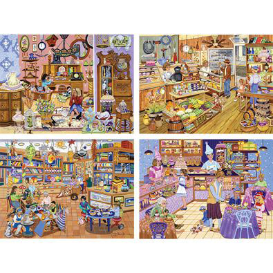 Set of 4 : Sandy Rusinko 300 Large Piece Jigsaw Puzzles