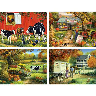 Set of 4: Linda Picken 300 Large Piece Jigsaw Puzzles