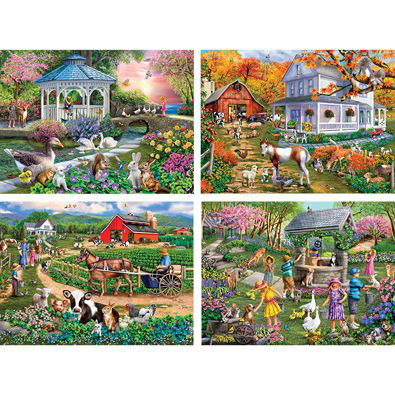 Set of 4: Mary Thompson 300 Large Piece Jigsaw Puzzles