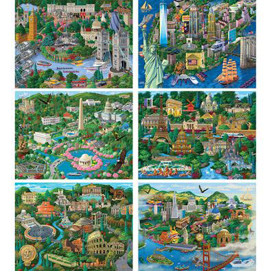 Set of 6: City Views 300 Large Piece Jigsaw Puzzles