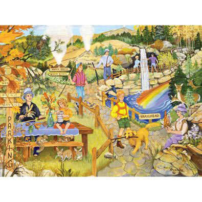Hiking In The Park 300 Large Piece Jigsaw Puzzle
