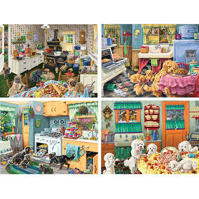 Set of 4: Dog Gone Good Fun 300 Large Piece Jigsaw Puzzles
