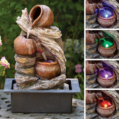 Cascading LED Pottery Fountain