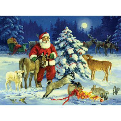 Santa's Barnyard Christmas 300 Large Piece Jigsaw Puzzle