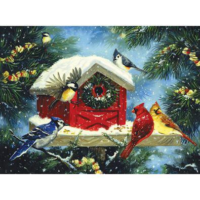 Christmas Bird Feeder 300 Large Piece Jigsaw Puzzle