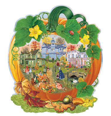 Harvest Village Pumpkin 300 Large Piece Shaped Jigsaw Puzzle