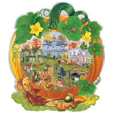 Harvest Village Pumpkin 750 Piece Shaped Jigsaw Puzzle