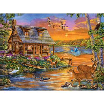 Sunset Lakeside Retreat 500 Piece Jigsaw Puzzle Bits And