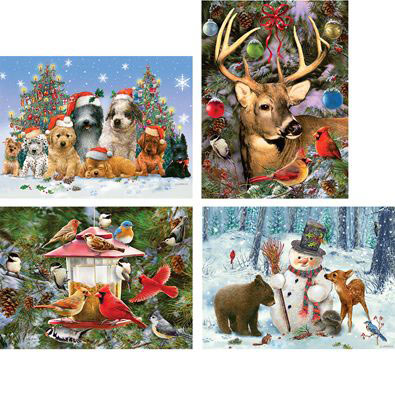 Set of 4: Holiday Company 300 Large Piece Jigsaw Puzzles