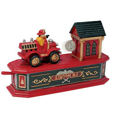 Fire Engine Cast-Iron Mechanical Bank