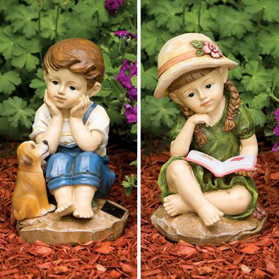 Set of 2: Color Changing Boy and Girl Solar Garden Sculptures