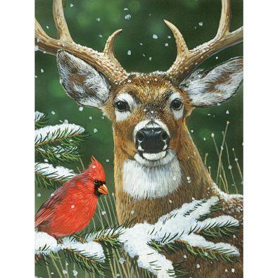 Deer With Cardinal 300 Large Piece Jigsaw Puzzle