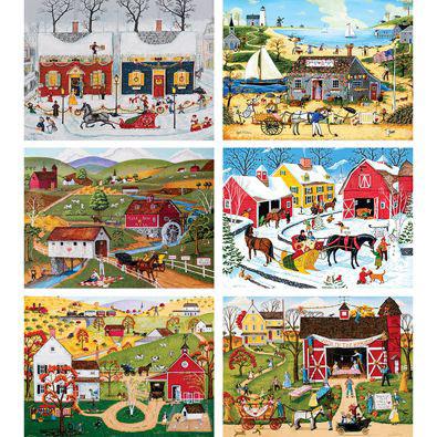 Set of 6: Joseph Holodook 300 Large Piece Jigsaw Puzzles