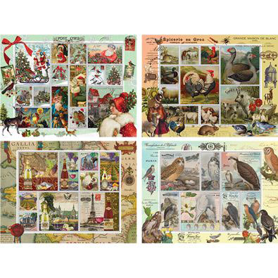 Set of 4: 300 Large Piece Stamp Jigsaw Puzzles