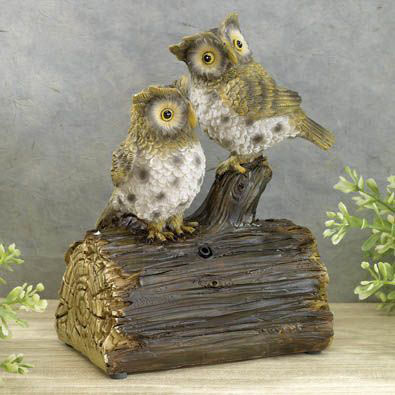 Hooting Owls Motion Sound Sensor Animal Garden Sculpture