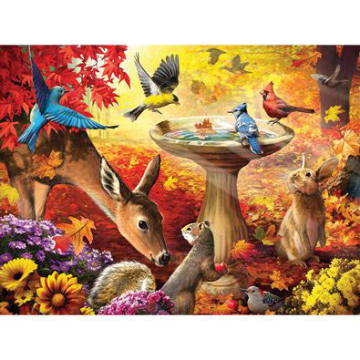 Autumn Birdbath 300 Large Piece Jigsaw Puzzle