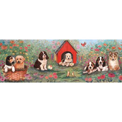 Puppy Doghouse 500 Large Piece Panoramic Jigsaw Puzzle