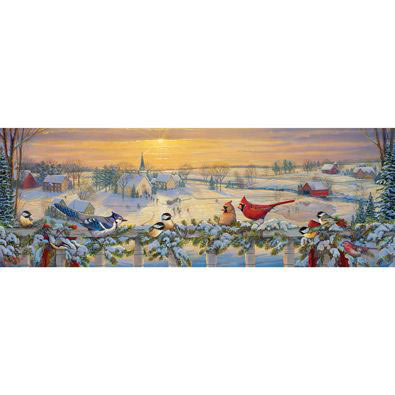 Winter Porch Chatter 1000 Piece Panoramic Jigsaw Puzzle