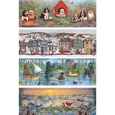 Set of 4: 500 Large Piece Panoramic Jigsaw Puzzles