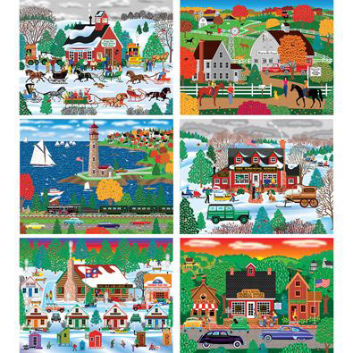 Set of 6: Mark Frost 300 Large Piece Jigsaw Puzzles