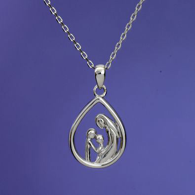 Mother & Two Children - Mother And Child Sterling Pendant Necklace