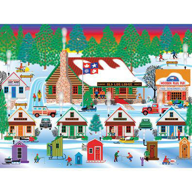 Winter At Old Log Lodge 1000 Piece Jigsaw Puzzle