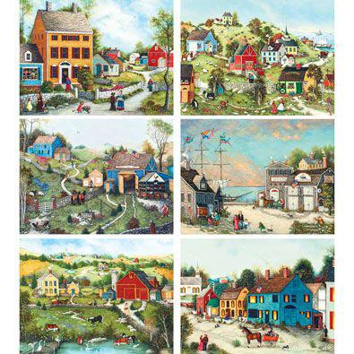 Set of 6: Linda Nelson Stocks 300 Large Piece Jigsaw Puzzles