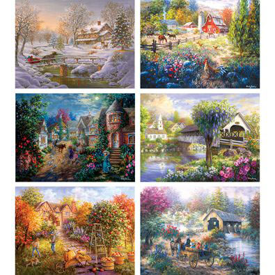 Set of 6: Nickey Boehme 1000 Piece Jigsaw Puzzles