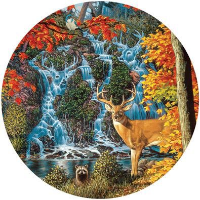 Afternoon At Sanctuary Falls 300 Large Piece Round Jigsaw Puzzle