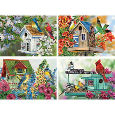 Set of 4: Birdhouse 300 Large Piece Jigsaw Puzzles