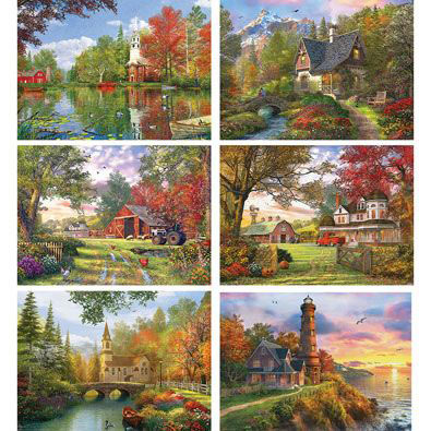 Set of 6: Scenic 1000 Piece Jigsaw Puzzles