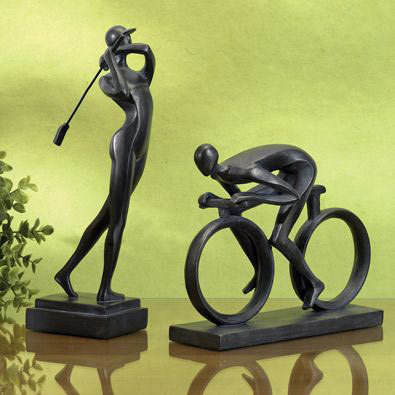 Set of 2: Golfer and Cyclist Statues