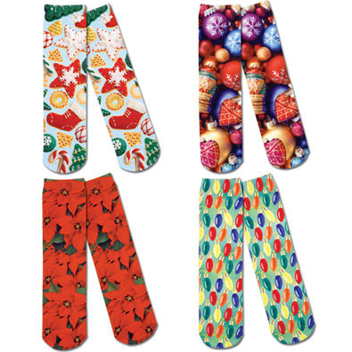 Set of 4: Festive Holiday Printed Crew Socks