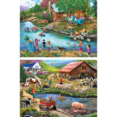 Set of 2: Country Life 500 Piece Jigsaw Puzzles