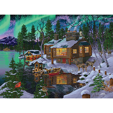 Northern Lights Cabin 1000 Piece Jigsaw Puzzle