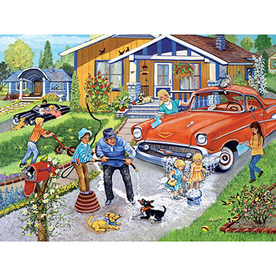 Family Car Wash 300 Large Piece Jigsaw Puzzle