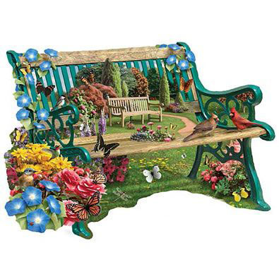 Garden Bench 300 Large Piece Shaped Jigsaw Puzzle