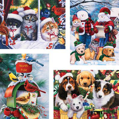 Set of 4: Happy Holiday Friends 300 Large Piece Jigsaw Puzzles
