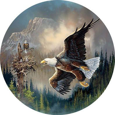 Guarding The Nest 300 Large Piece Round Jigsaw Puzzle